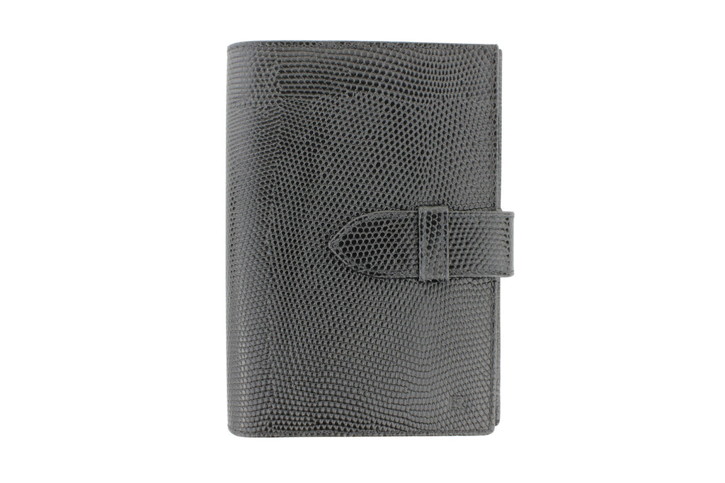 Black mock iguana travel wallet