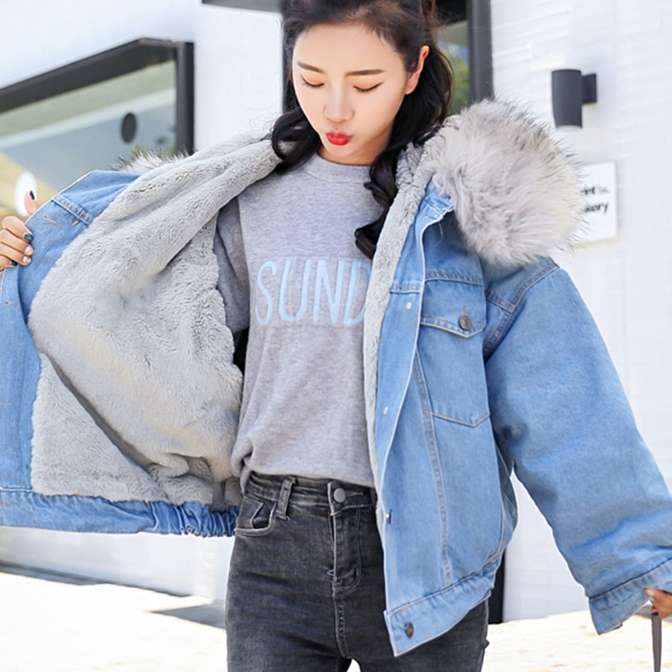 Long Denim Jackets With Fur Trim