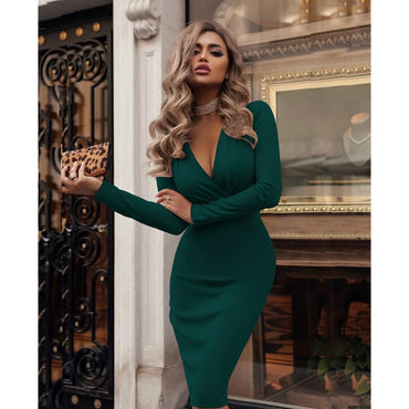 Long Sleev Office Lady Bodycon Dress