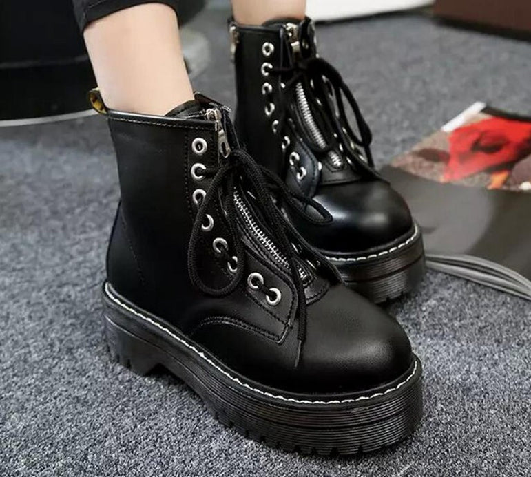 Lace up Leather Fashion Zipper Ankle Boots