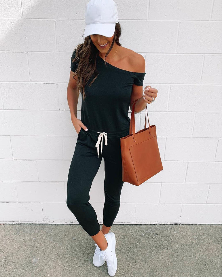 Off Shoulder High Waist Clubwear Jumpsuit