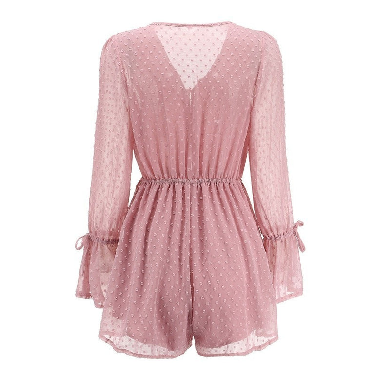 Polka Dot Short Jumpsuit Transparent Playsuit