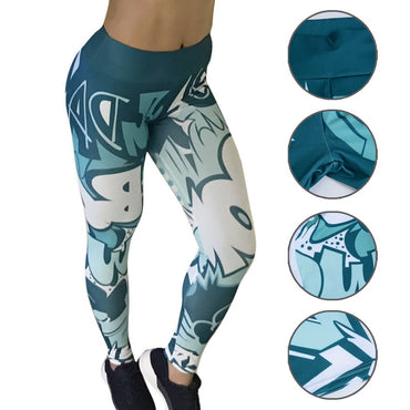 High Waist Printed Slim Workout Leggings