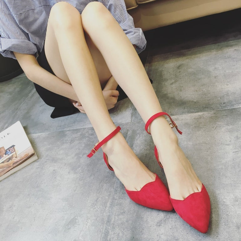 Pointed Toe Buckle Strap Low Heels Pumps