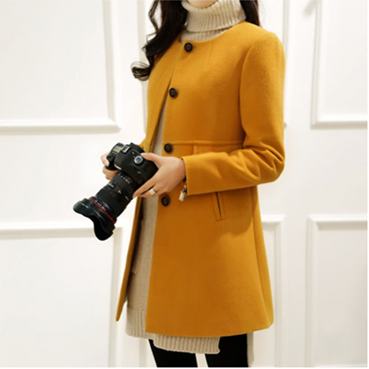 Loose A-aline Long Sleeved Wool Coat