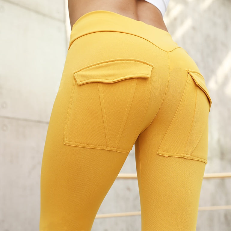 High Waist Push Up Solid Pocket Leggings