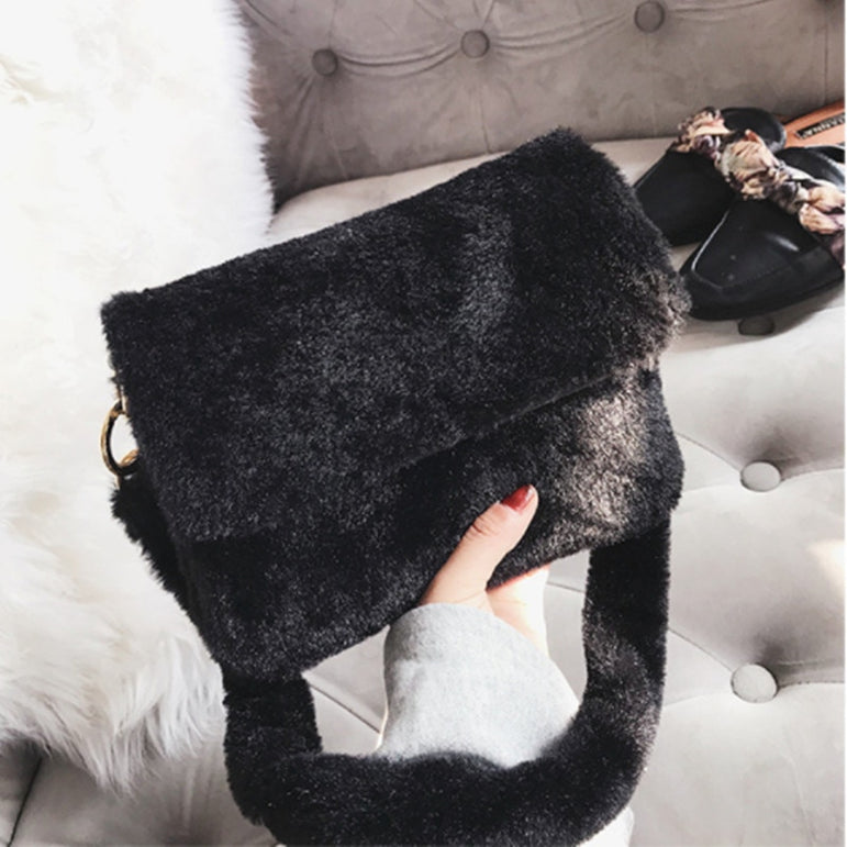 Leopard Faux Fur Shoulder Handbag