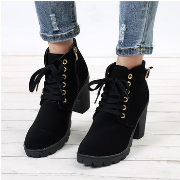 Buckle High Heels Ankle Boots