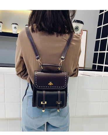 Leather Preppy Little Bee Backpack