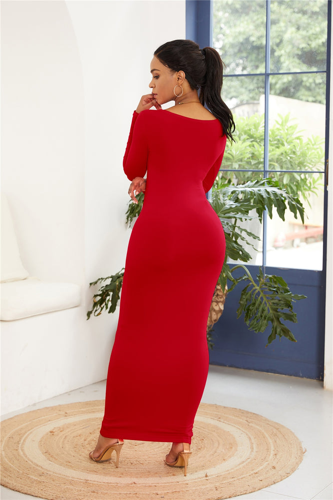 Casual Long Sleeve Simple High Stretchy Bodycon Dress
