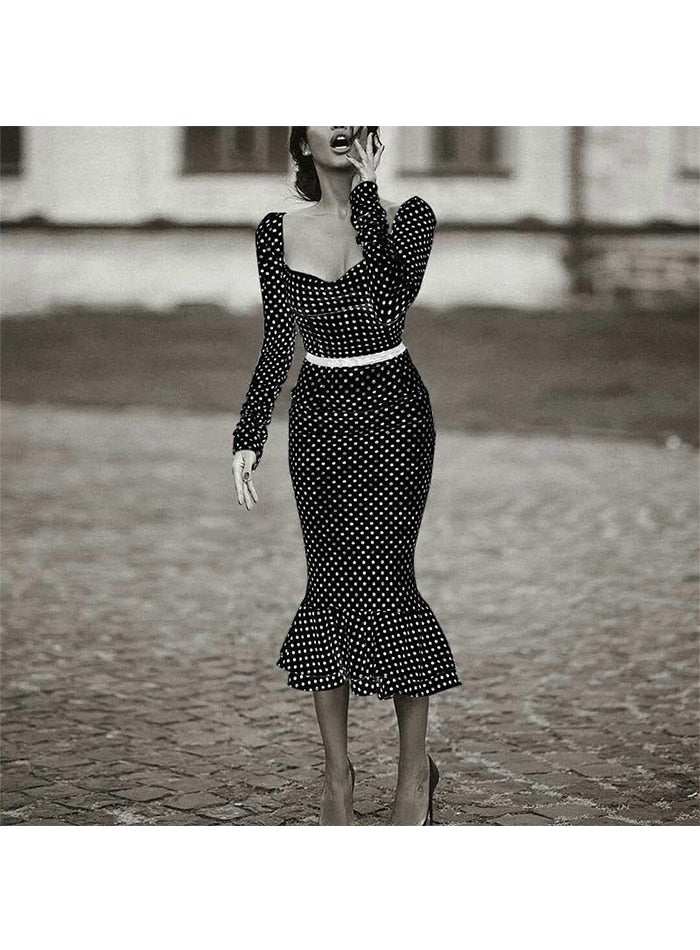 Elegant Strap Polka-dot Mermaid Midi Dress