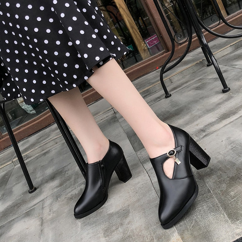 Thick Leather Pointed Toe High Heel