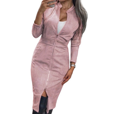 Long Sleeve Bodycon High Street Suede Dress