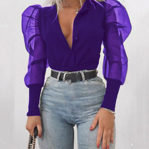 Ruffle Long Puff Sleeve Shirt Tops