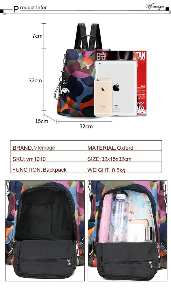 Casual Anti Theft Oxford Multifuction Backpack