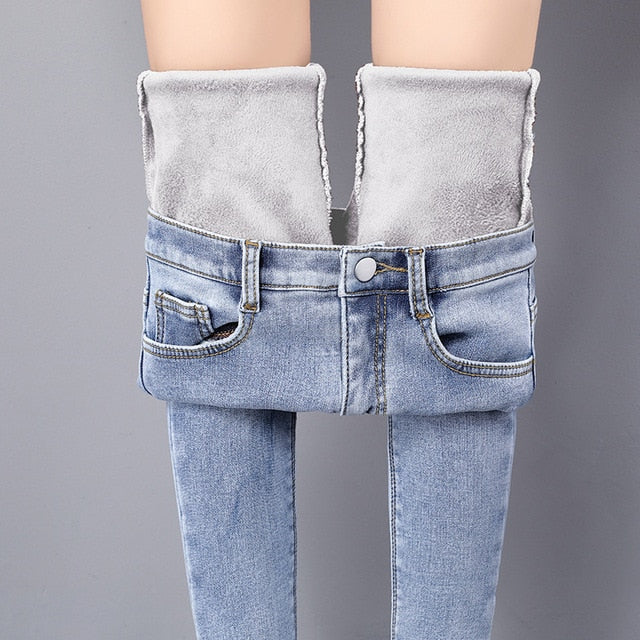 High Waist Winter Warm Casual Velvet Jeans