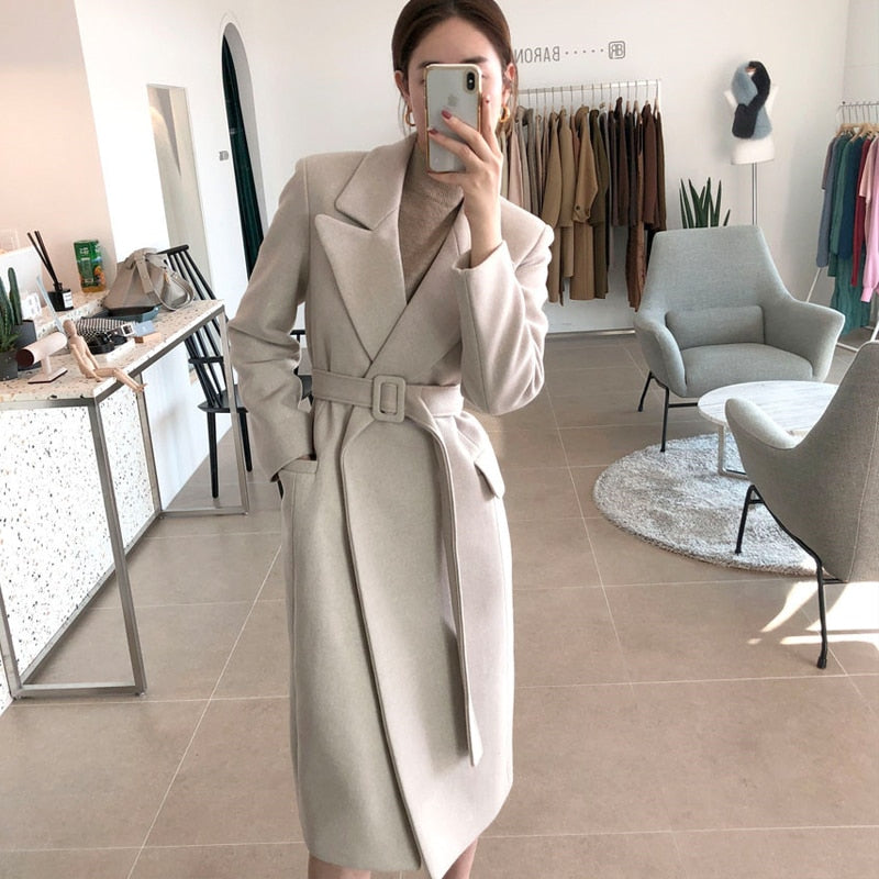Lace Up Office Lady Winter Wool Coats