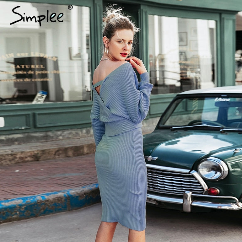 Elegant Batwing Sleeve Skirt Suits Dress
