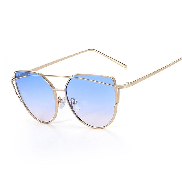 Cat eye Mirror Flat Rose Sunglasses