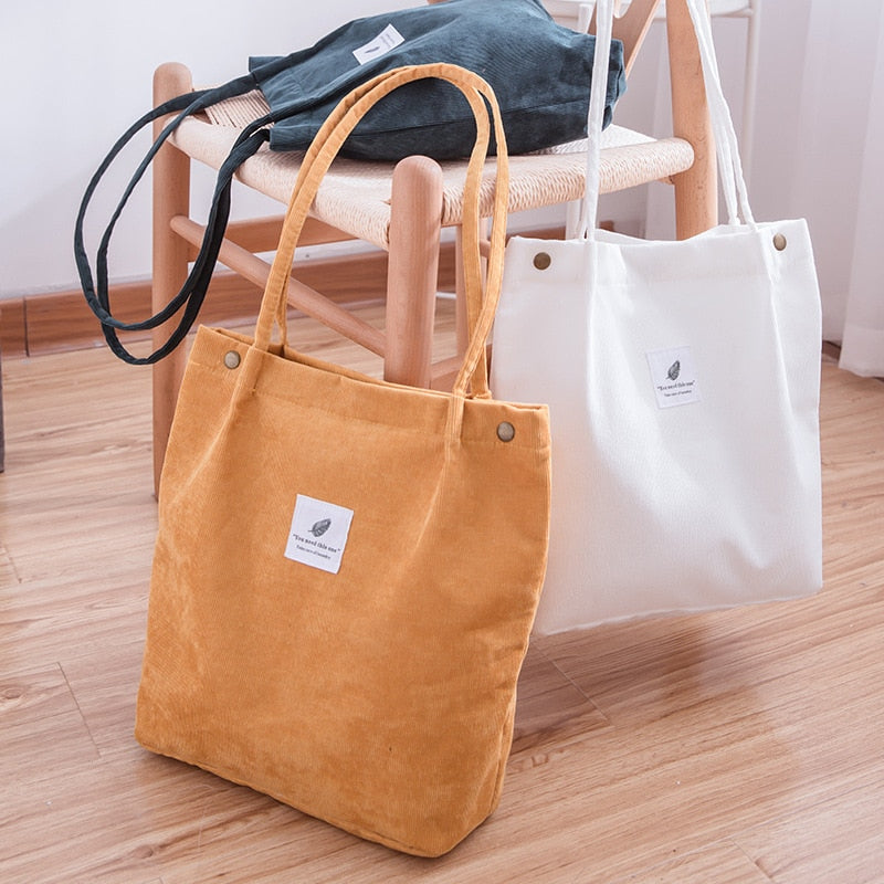 Canvas Totes Shoulder Corduroy Shopping Bag