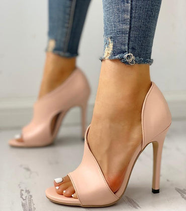 Stiletto Peep Toe High Heels Pumps