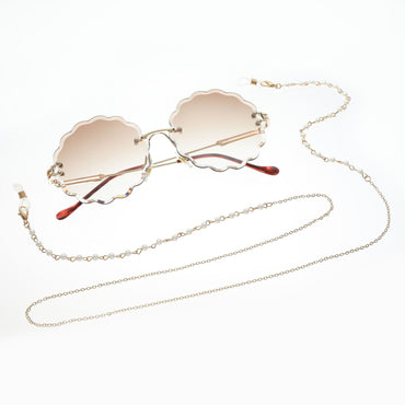 Casual Pearl Chic Metal Sunglasses
