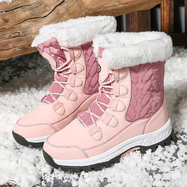 Waterproof Thick Fur Chunky Snow Boots