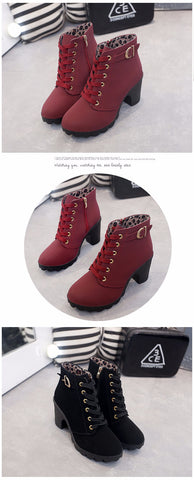 Elegant Square Winter Ankle Boots