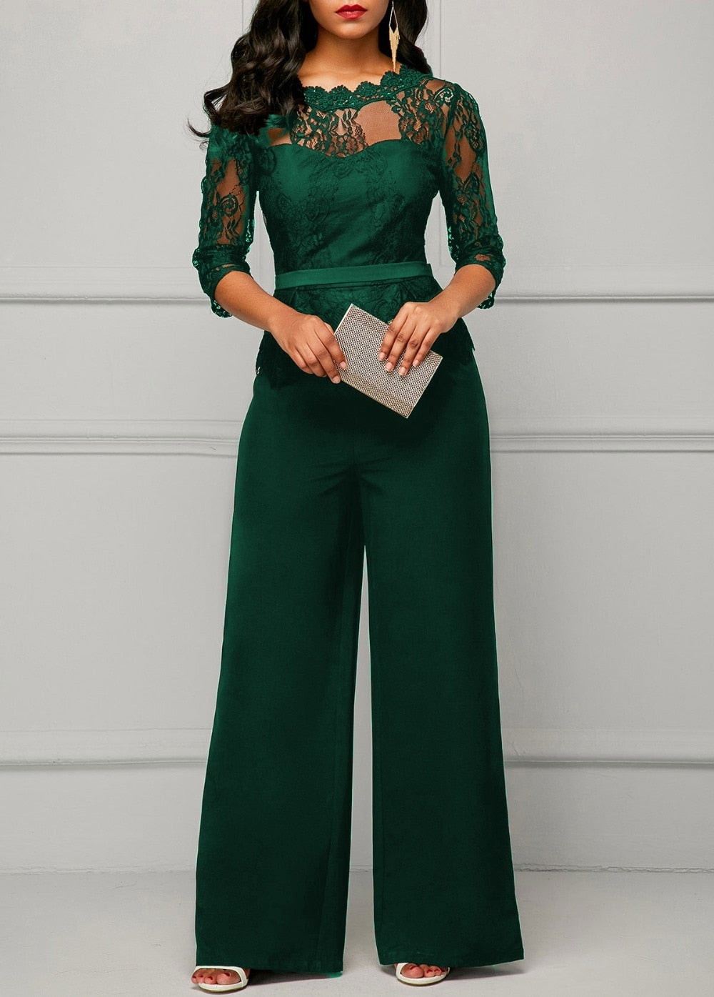Casual Lace Wide Leg Pants Rompers Jumpsuit