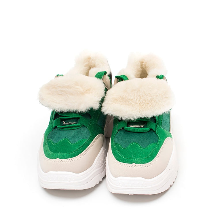 Casual Plush Fur Warm Lace Up Sneakers
