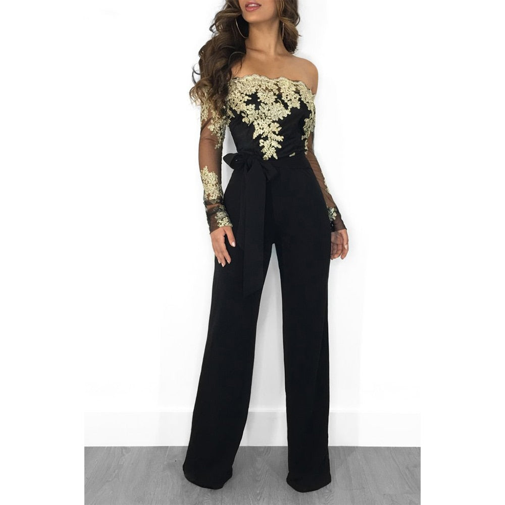 Off Shoulder Appliques Lace Patchwork Jumpsuit