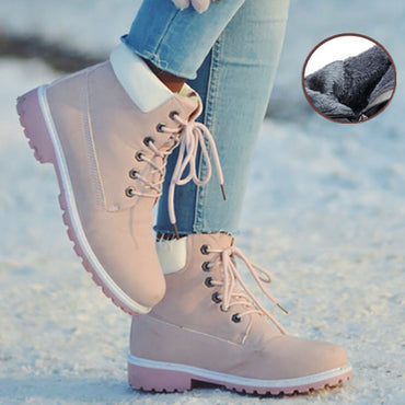 Leather Fur Winter Women Ankle Snow Boot