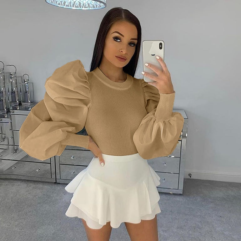 Elegant Long puff Sleeve Sexy tops