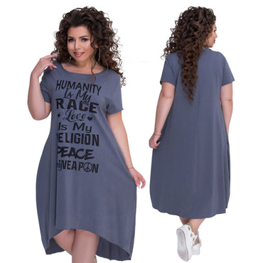 Letters Printed Mid Calf Dress