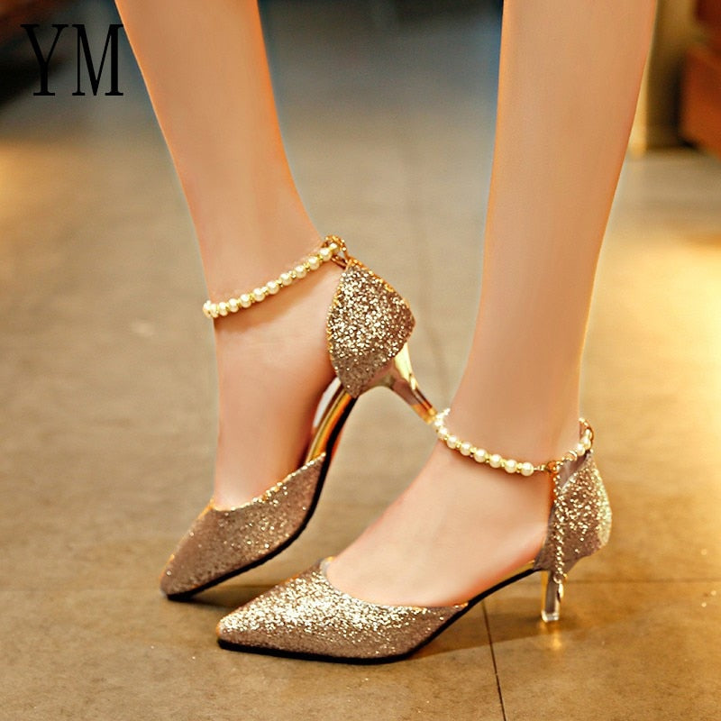 Pointed toe Pearl Thin Breathable High heels