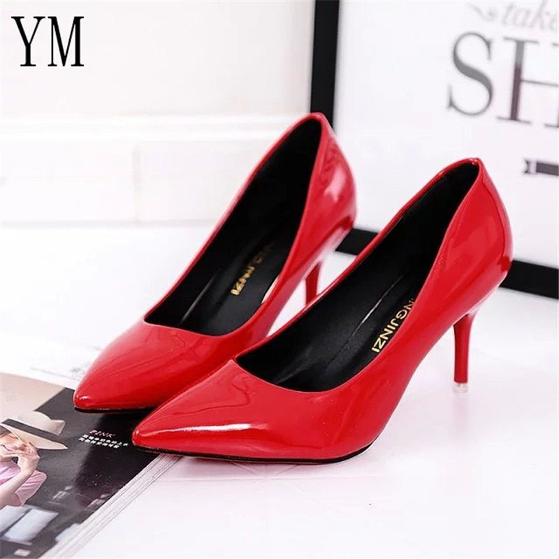 Leather  Shadow Wedding Pointed Toe Pumps