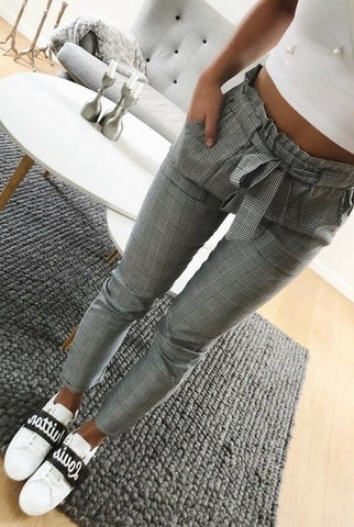 Casual women England plaid pants