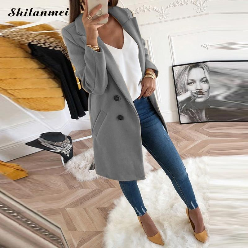 Casual Long Sleeve Wool Blend Coat Jacket