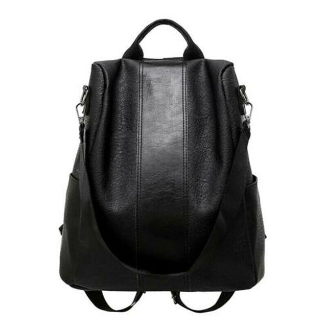 Anti theft Leather Shoulder Backpack