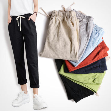 Chic Loose Cotton Linen Soft Harem Ankle Length Pants