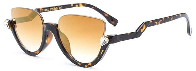 Clear Lens Vintage Half Frame Cat Eye Sunglasses
