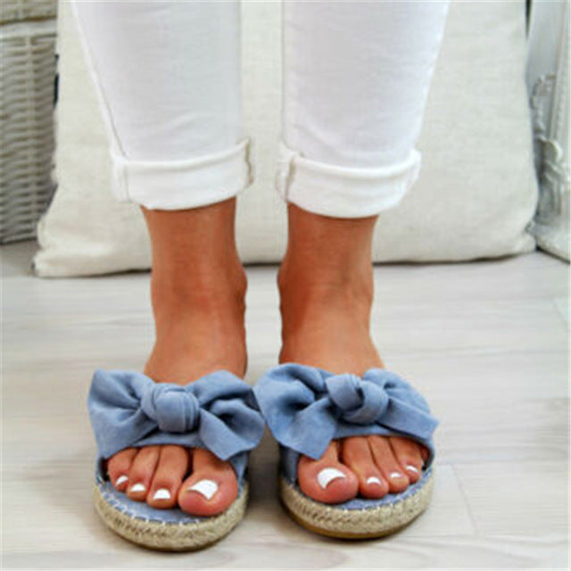 Bow Flat Hemp Linen Slippers