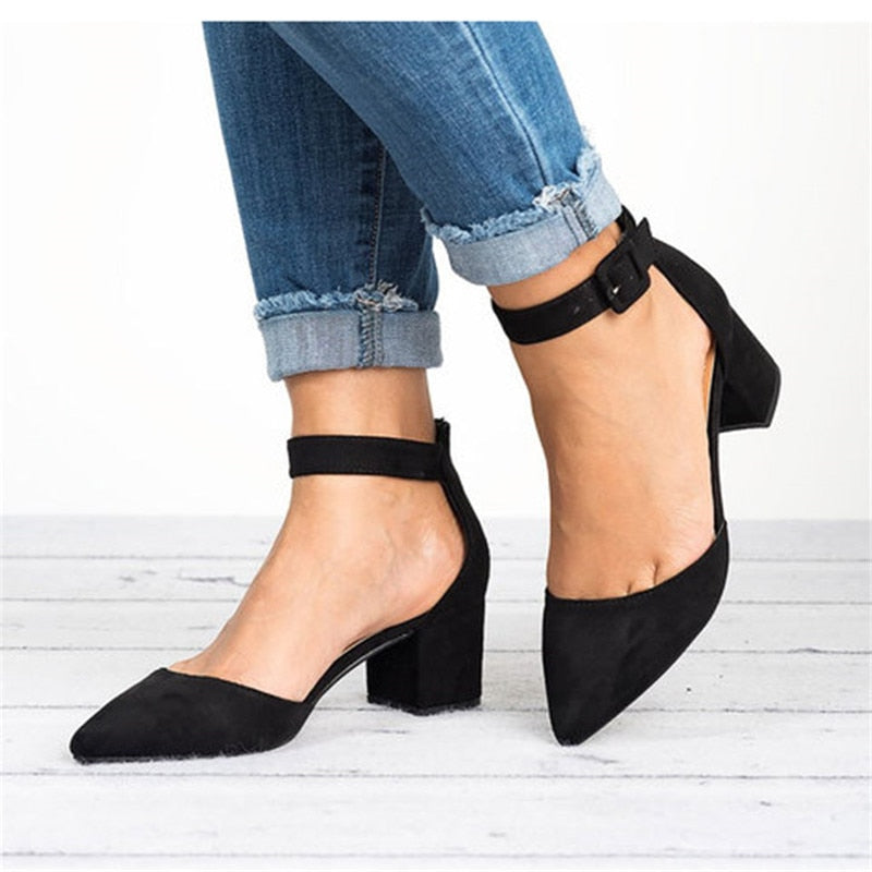 Ankle Strap Low Heels Sandals