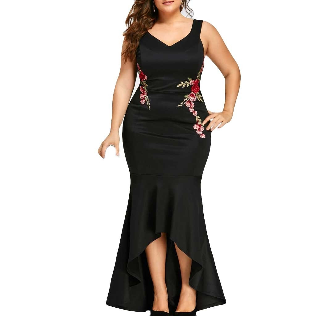 Ruffles Bodycon Maxi Long Dress