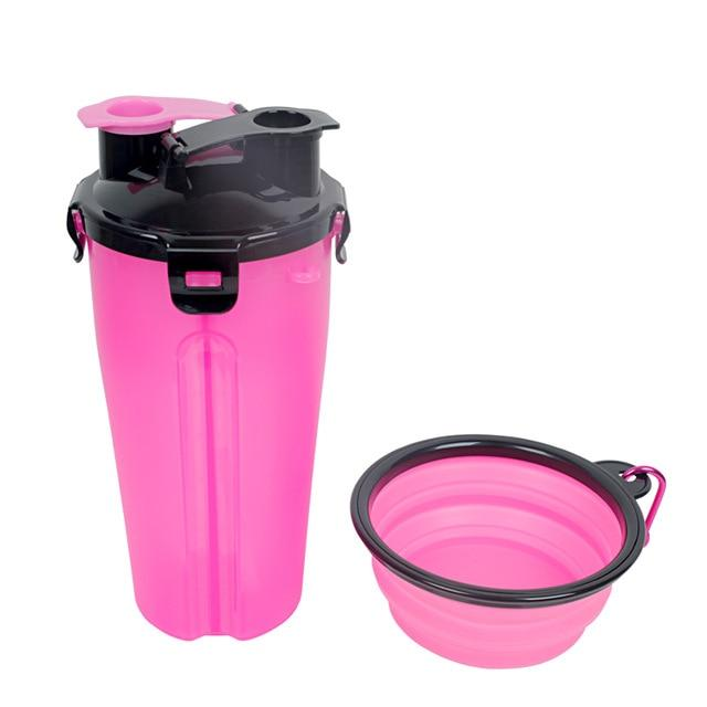 2 In 1 Dog Food Water Bottle Pet Feeder with Portable Dog Bowl Travel Outdoor Food Water Drinking Dispenser Cat Puppy Feed Bowl