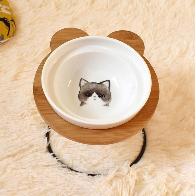 Fashion High-end Pet Bowl Various Cartoon Patterns Stainless Steel Shelf Ceramic Bowl Feeding and Drinking Bowls for Dog and Cat