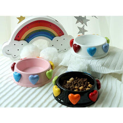 Cat Dog ceramics bowls Food water Bowl princess colorful Heart cats dogs feeder small pets Ceramic bowl small puppy feeder