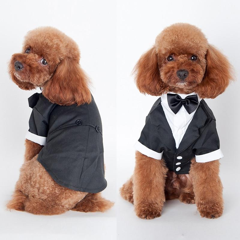 Pet Dog Cat Clothes Prince Wedding Suit Tuxedo Bow Tie Puppy Coat 5 Sizes For Large Small Dog