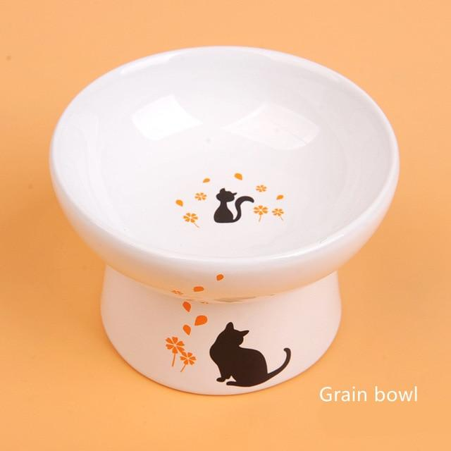 Lovely Pet Feeder Bowl Cartoon Shape High-foot Single Mouth Skidproof Ceramic Dog Cat Food Bowl Pet Products Drinking Bowl