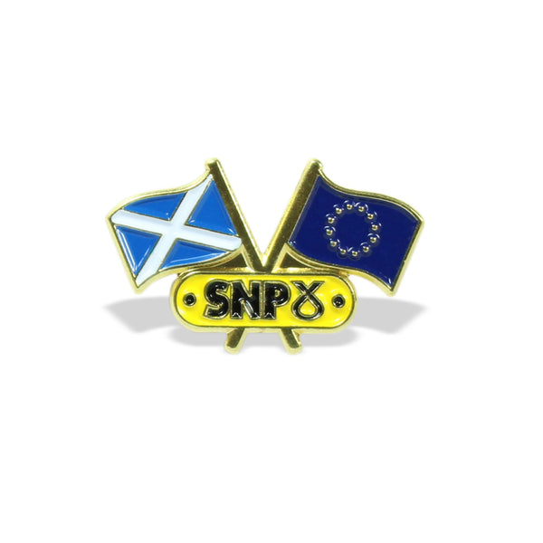 SNP Scotland & EU Flags Pin Badge